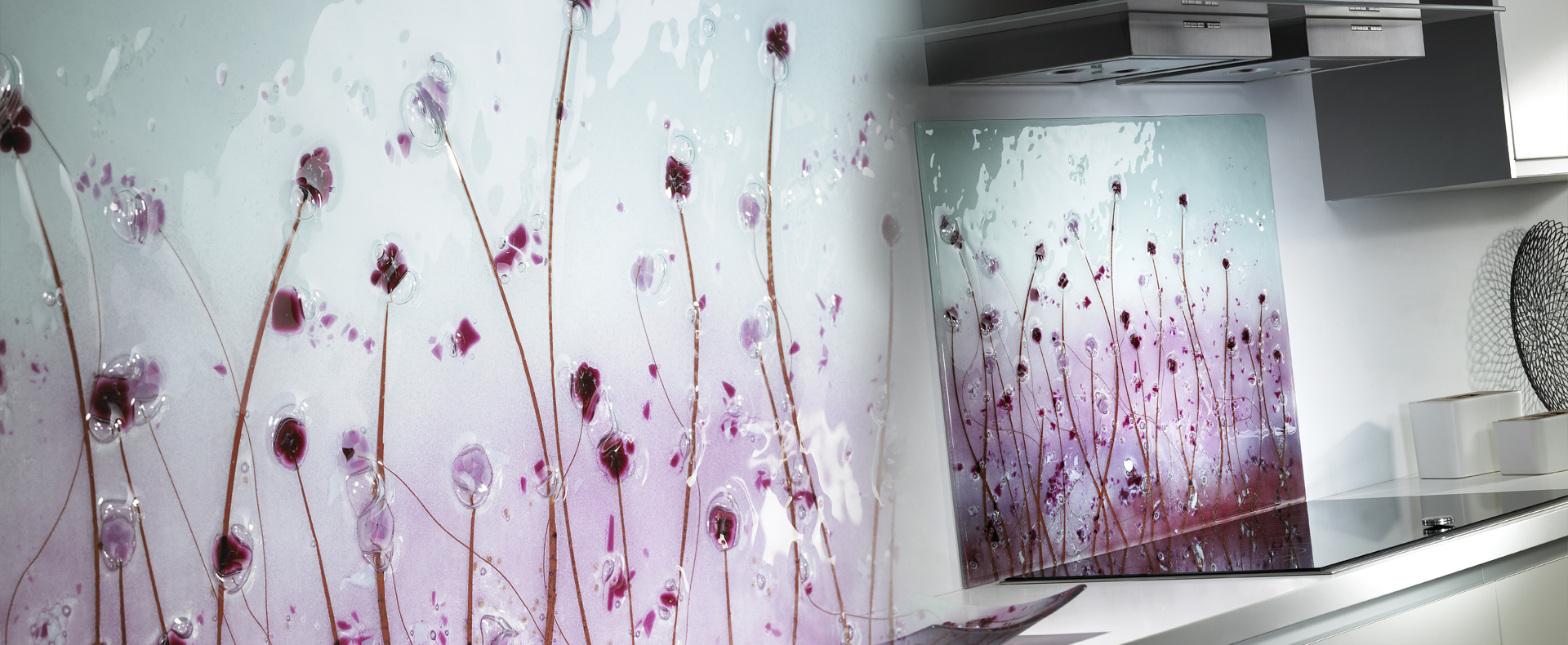 Pink and purple bespoke Poppy splashback