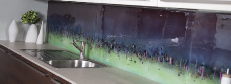 Bespoke purple and green Cityscape splashback