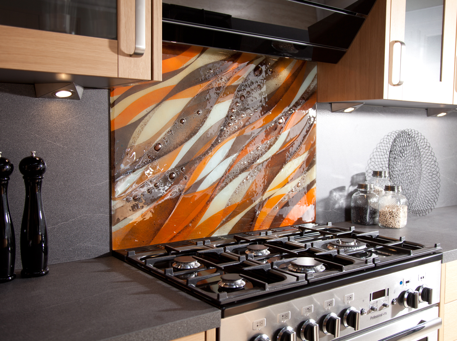 Orange wave splashback